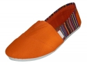 Womens Canvas Slip on Shoes Flats 2 Tone (5, Orange 308L)
