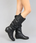 Women's Classic Basic Soft Faux Leather Slouchy Flat Knee High Boots Basal,Basal Black Pu 5.5