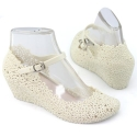 2014 New Womens Jelly Rubber Mary Jane Casual High Heels Wedge Shoes