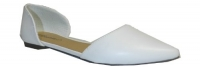 Breckelle Dolley-03,22,23/Qupid Pointer-54 Pointed Toe D'orsay Ballet Flats Shoes,7.5 B(M) US,White PU-22
