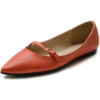 Ollio Women's Shoe Ballet Pointed Toe Mary Jane Flat (6 B(M) US, Orange)