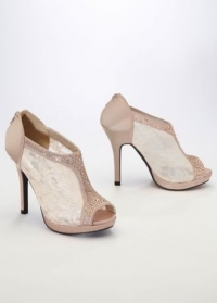 Wedding & Bridesmaid Shoes Lace High Heel Shootie with Flatback Crystals...