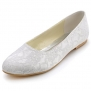 Elegantpark EP11106 White Women's Almond Toe Lace Flat Bridal Wedding Shoes US4