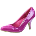 Women's Qupid Tanya-01 Fuchsia Patent Pu Leather Pointy Pumps Shoes, Fuchsia, 6
