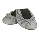 Solemates Purse Pal Foldable Bowed Ballet Flats w/ Expandable Tote Bag for Carrying Heels (Small (5 - 6.5), Silver)