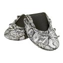 Solemates Purse Pal Foldable Bowed Ballet Flats w/ Expandable Tote Bag for Carrying Heels (Small (5 - 6.5), Snakeskin (Black/Silver))