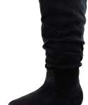 Women's Wild Diva Kalisa-04 Vickie Black Round Toe Mid High Boots Shoes, Black, 7.5