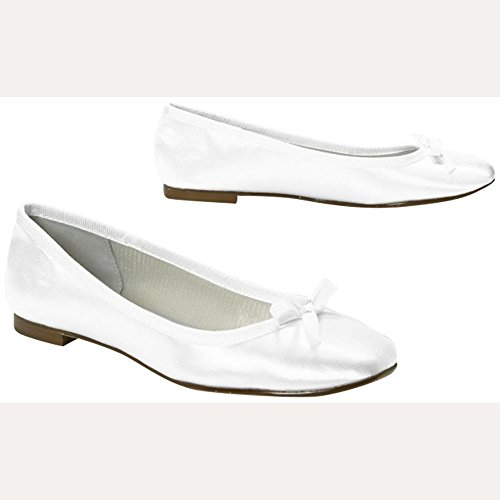 Plus Size Wedding Amp Bridesmaid Shoes Dyeable Satin Ballet Flat White 75W Davids Bridal